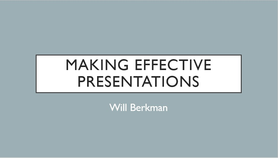 Making effective presentations - Webinar